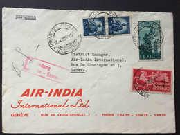 Italia,  ROMA 1950, REPUBBLICA, Busta AIR INDIA, ESPRESSO 100 Lire Posta Aerea + Espresso 60 L Diretta A Svizzera, - 6. 1946-.. Republic