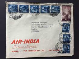 Italia,  ROMA 1950, REPUBBLICA, Busta AIR INDIA, 9 Francobolli, Diretta A Svizzera, Ginevra Genève - 6. 1946-.. Republic