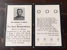 Sterbebild Wk1 Ww1 Bidprentje Avis Décès Deathcard IR25 SOMME PY CHAMPAGNE 2. Oktober 1915 Aus Weidach - 1914-18