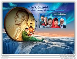 MALDIVES 2015 ** S/S Nobel Prize Winners 2014 - Moerner Modiano Yousafzai Amano O& Acute Keefe A1508 - Nobelpreisträger