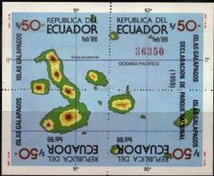 ECUADOR, 1986, GALAPAGOS MAP, YV#B.72, SS, MNH - Equateur