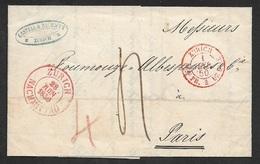 1850 - Faltbrief - ZÜRICH Nach PARIS. Seltener Grenzübergangstpl  BUREAU FRANCAIS DE BALE ZÜRICH. Schöne Abschläge - Postmark Collection