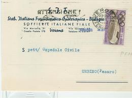 """S.I.F.-STABILIMENTO ITALIANO FARMACEUTICO-VERONA"",CARTOLINA COMMERCIALE,1960,TIMBRO POSTE VERONA TARGHETTA, - Salute"