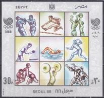 Ägypten Egypt 1988 Sport Spiele Olympia Olympics Seoul IOC Boxen Basketball Tischtennis Schwimmen Fechten, Bl. 46 ** - Ägypten
