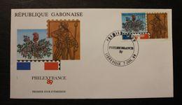Enveloppe-1-jour-GABON-PHILEXFRANCE-89-7-JUILLET-1989  Enveloppe-1° Jour - Gabon (1960-...)