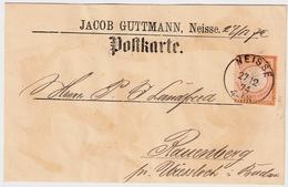 """1874,Postkarte , Selt. Privat-Vordruck Klar  """" NEISSE """"vorders. Firma !   , #a1824 - Deutschland"""