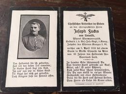 Sterbebild Wk1 Ww1 Bidprentje Avis Décès Deathcard RIR1 VICILLE CHAPELLE 9. April 1918 Aus Unteröd - 1914-18