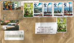 Serie Refinería De Petróleo Camilo Cienfuegos De Cuba, Sur Lettre Recommandée Adressée Andorra, Avec Timbre à Date - Oil