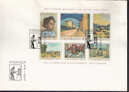 Sweden 1969 Painting By The Swedish Artist Ivan Aguéli (1869-1917) Different Periods Of Life, Mi 638-643 In Bloc 1, FDC - Storia Postale