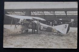 CPA PHOTO AVION S 393 AVIATEUR MECANICIEN HANGAR RAUCHEN VERBOTEN FIN GUERRE 14 18 - War 1914-18