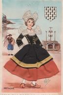 Costume Folklorique De Pont-Aven - Carte Brodée Tissu Coiffe - - Pont Aven