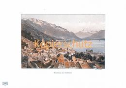 109-2 E.T.Compton Montreux Genfersee Farbdruck Kunslatt 1905 !!! - Prints