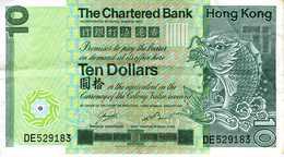 HONG KONG - The Charterd Bank - 10 Dollars - 1er Janvier 1981 - Série DE 529183 - P. Circulé - Hong Kong