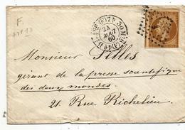 """-  SEINE - PARIS - Losange """"F"""" S/TPND N°13 + Càd Type 15 Bureau De Quartier - 1860 - PORT LOCAL - 1853-1860 Napoléon III"""
