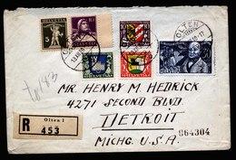 A5814) Schweiz R-Brief Olten 13.12.30 N. USA M. Mi.241-244 Und W6x - Briefe U. Dokumente