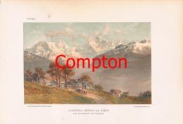 144 E.T.Compton Jungfrau Mönch Eiger Kunstblatt Farbdruck 1898 - Prints