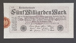 EBN8 - Germany 1923 Banknote 5 Milliarden Mark P.123b Without Serial Number - [ 3] 1918-1933: Weimarrepubliek