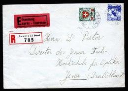 A5816) Schweiz R-Express-Brief Genf 27.01.41 M. Mi.194y Ua. Gepr. Rellstab - Covers & Documents