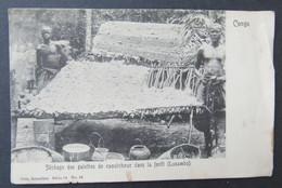 Cpa/pk CONGO BELGE Séchage Des Galettes De Caoutchouc Dans La Foret Lusambo - Congo Belge - Autres