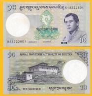 Bhutan 10 Ngultrum P-29b 2013 UNC Banknote - Bhoutan