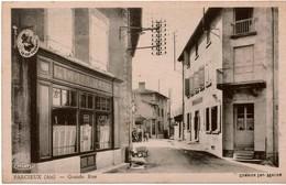 """Cpsm 01 PARCIEUX Grande Rue , Animée, Modern'Café Et Café De L'Union , Pub Vin """"Le Cep Vermeil"""" - Altri Comuni"""