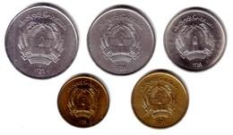 AFGHANISTAN, Democratic Republic - Complete Set SH 1359 (1980) 5 Coins - KM# 996-1000 Unc - Afghanistan