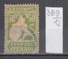 42K389 / K. B. Stempel, Wappenloewe 50 Pfennig   . Revenue Fiscaux Steuermarken , Germany Deutschland Allemagne - Non Classés