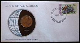 Numisletter Nicaragua  Coin UNC 1 Cordoba 1972 + Stamp Michel Nr 2078 - Nicaragua