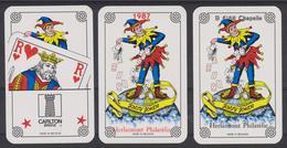 4 Jokers Repiqués à L'occasion De La Journée Du Timbre 1987 à Chapelle Lez Herlaimont - Cartes à Jouer Classiques