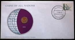 Numisletter Brasil Coin UNC 1 Centavo 1969 + Stamp Michel Nr 1843 - Brésil
