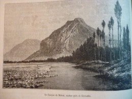 Le Casque De Néron , Prés De Grenoble , Gravure De Sarget D'aprés Dessin De De Bar 1882 Avec Texte - Documenti Storici