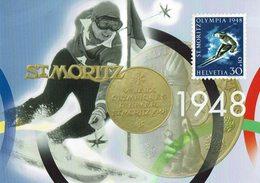 2009 HELVETIA SUISSE ENTIER POSTAL - JEUX OLYMPIQUES D'HIVER A NAGANO - ST. MORITZ 1948  SKY MÉDAILLE - Invierno 1998: Nagano