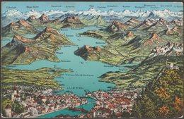 Karte, Vierwaldstättersee Und Luzern, 1934 - Photoglob-Wehrli-Vouga AK - LU Lucerne