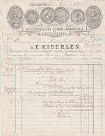 Pays Bas Facture  Illustrée 5/11/1889 E KIDEREN Nederlandsch Stoom Branderij En Distlleerij DELFSHAVEN - Genièvre - Pays-Bas