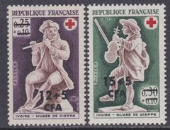 Réunion N° 378 / 79 XX Au Profit De La Croix Rouge : Les 2 Valeurs Surchargées CFA, Sans Charnière Sinon TB - Neufs