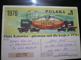 Poczta  Huta Katowice Pig Iron Torpedo Car Stationery - Fabbriche E Imprese