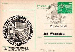 "DDR Amtl.Ganzsache M.priv.Zudruck""Neptunbrunnen,10Pf.grün"" P79/C40b ""X.Kulturtage"" SSt 3.6.77 WEISSENFELS 2 - Cartoline - Usati"