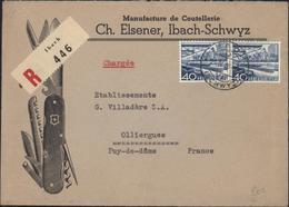 Enveloppe Illustrée Couteau Suisse Lame Rasoir Manufacture Coutellerie Elsener  Schwyz Recommandé Ibach Chargée YT 489 - Suisse