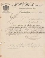 Pays Bas Facture Lettre Illustrée 17/10/1897 H W C WÜRDEMANN Cognac AMSTERDAM - Pays-Bas