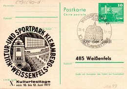 "DDR Amtl.Ganzsache M.priv.Zudruck""Neptunbrunnen,10Pf.grün"" P79/C40d ""X.Kulturtage"" SSt 30.6.77 WEISSENFELS 2 - Cartoline - Usati"