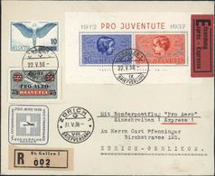 Cachet Pro Aero 1938 Volo Straordinario Son Der Flug Swissair Recommandé St Gallen Exprès YT Bloc 3 + Ae 25 + 26 - Poste Aérienne