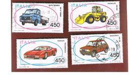ITALIA REPUBBLICA  - UNIF. 1783.1786    1986  COSTRUZIONI AUTOMOBILISTICHE ITALIANE  -      USATO - 6. 1946-.. República