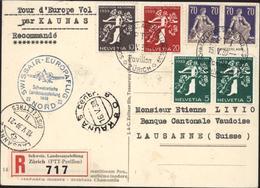 Cachet Tour D'Europe Vol Par Kaunas Recommandé Cachet Swissair Europaflug Nord Schweizerische Landesausstellung 1939 - Poste Aérienne