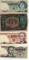 Lots De  4 Billets De Pologne 10000 Mille ,1000mille,100cent Et 10 - Pologne