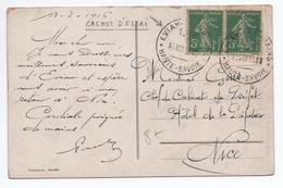 1915 - CP Avec CACHET D'ESSAI D'EVIAN (HAUTE SAVOIE) Sur SEMEUSE CAMEE - Postmark Collection (Covers)