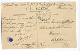 DAHOMEY - 1915 - CARTE FM Du 35° BATAILLONJ SENEGALAIS à PORTO-NOVO => VICHY - Dahomey (1899-1944)