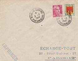 OBLIT. TEMPORAIRE RALLYE CAMPING FONTAINEBLEAU 8/7/49 - Marcophilie (Lettres)
