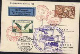 YT Ae 14 + 6 Bons Timbres Aérodrome Lausanne Blécherette Poste Aérienne 30 III 33 Kongress Touristik Verkehr Zürich - Poste Aérienne