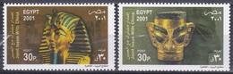 Ägypten Egypt 2001 Kunst Arts Kultur Antike Masken Mask Gold Tut-ench-Amun San Xing Dui China, Mi. 2066-7 ** - Égypte