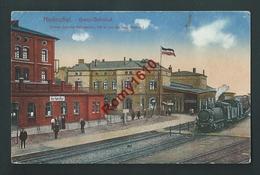 HERBESTHAL Gare -  Station Avec Train. Animée. Voyagée En 1916, Feldpost. Scan Recto/verso. - Lontzen
